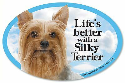 """Life/'s better with a Border Terrier 6/"""" x 4/"""" Oval Magnet Made in the USA"""