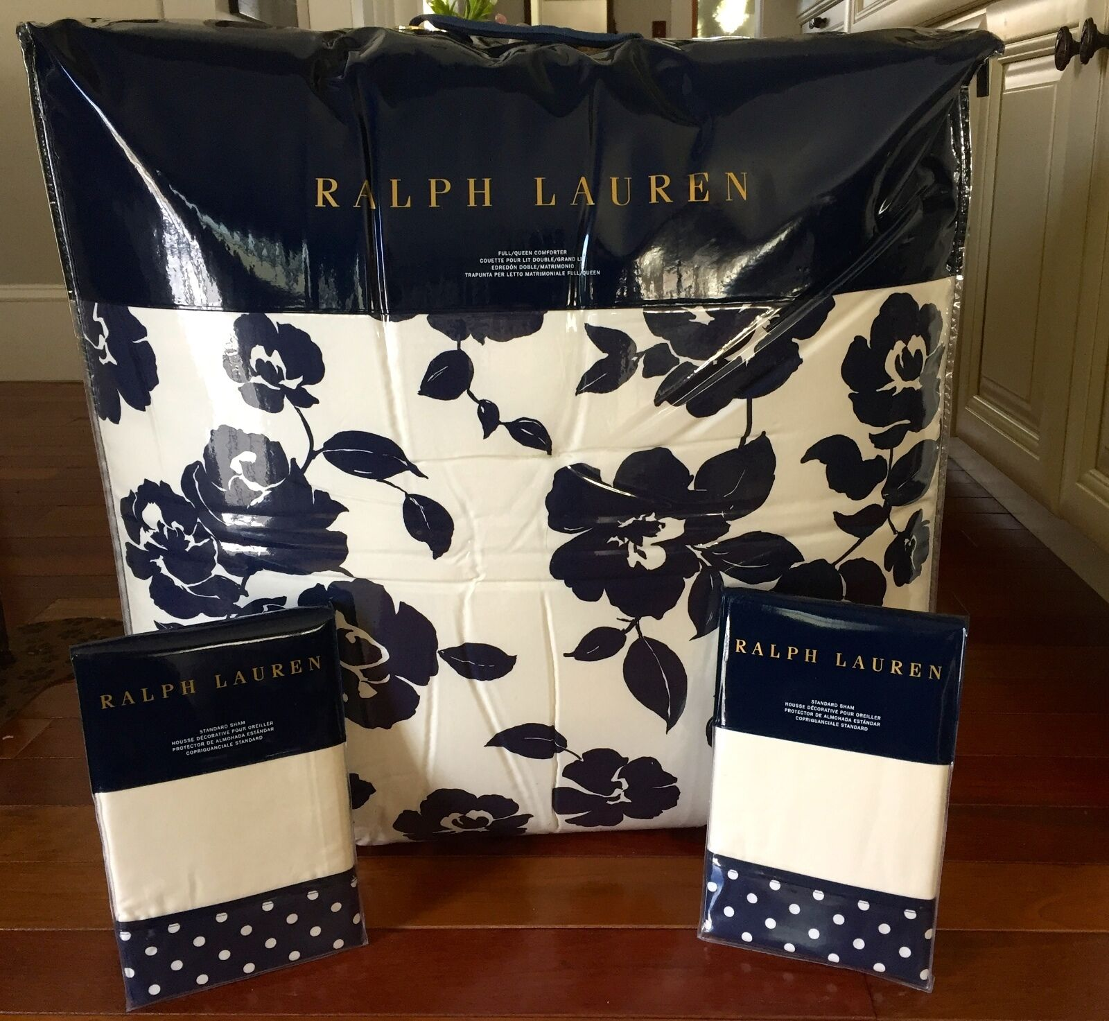 NEW RALPH LAUREN HOME MODERN GLAMOUR 3PC FULL QUEEN COMFORTER SET (CR NAVY)
