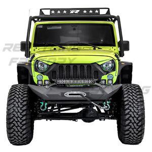 Front-Bumper-Winch-Plate-21-22-034-Light-Bar-LED-Mount-Fit-07-18-Jeep-JK-Wrangler
