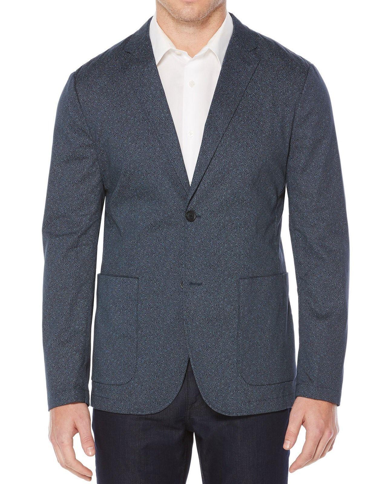 Perry Ellis bluee Men's 40REG Two-button Scribble-print Sport Coat,Size 40