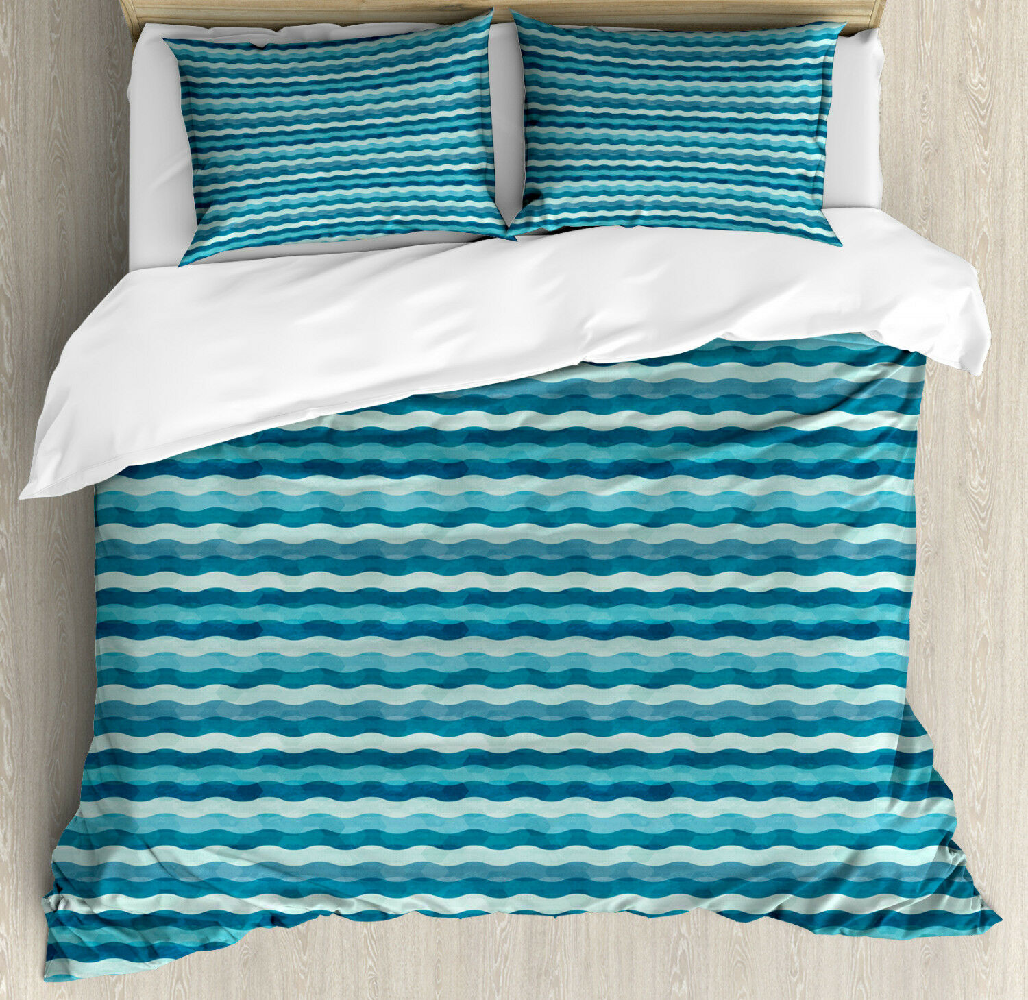 Abstract Duvet Cover Set with Pillow Shams Ocean Waves Aquatic Print
