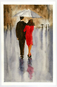 Original-Watercolor-Painting-9-x-6-034-In-the-Rain-Abstract-Not-ACEO