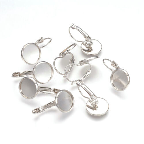 200pcs Platinum Brass Leverback Earring Earwire For Jewelry Making Flat Round