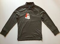 Celio Men's Long Sleeve Polo Shirt Army Green Color Size Large L
