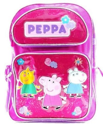 "Peppa Pig Girls Large 16/"" inches Canvas Pink /& Purple School Backpack New w//tags"