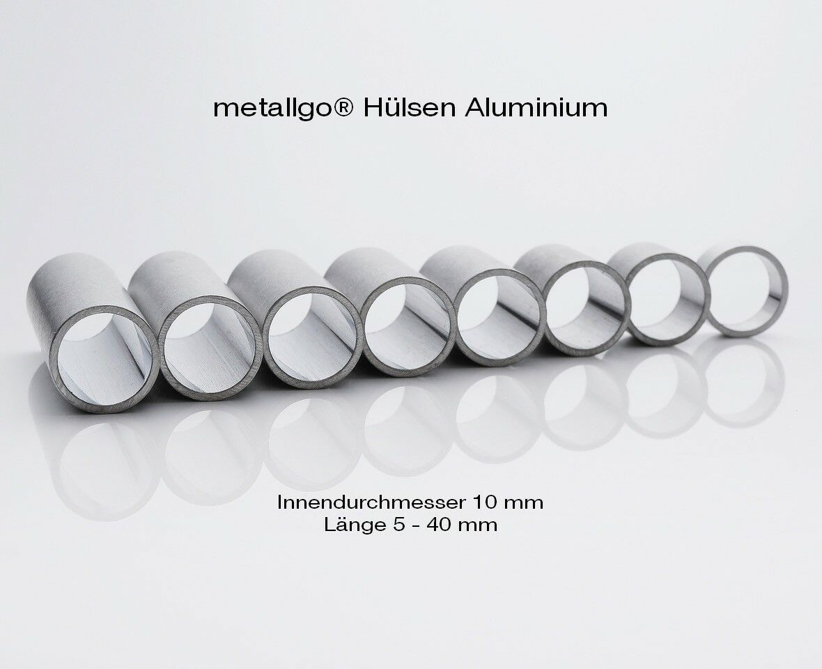 Metallgo® Aluminium Distanzbuchsen Metallhülsen | Ø innen 10 mm | Länge 5-40 mm