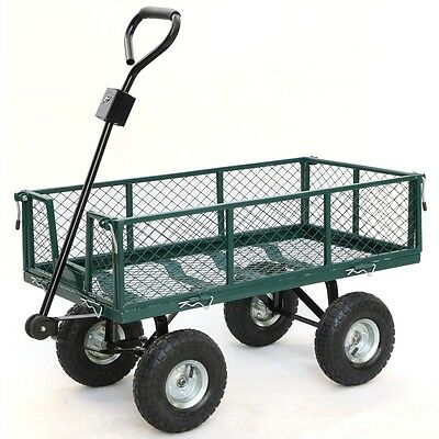 "400kg 48"" Steel Garden Cart Folding Mesh Sides Trolley Farm Wagon Trailer_Green"