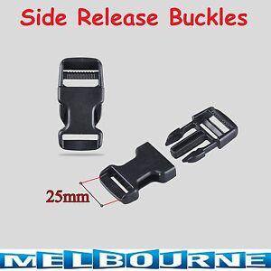 25mm Black Plastic Side Quick Release Buckle Clip – Cord Strap Backpack Bag Safe