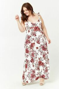 Details about Forever 21 Plus size floral print maxi dress in pink cream  0X/3X
