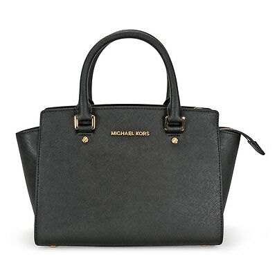 Michael Kors Selma Medium Leather Satchel - Black