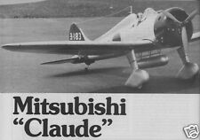 """Model Airplane Plans (RC): MitsubishI A5M4 Claude S/O Scale 58"""" for .35-.46"""