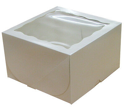 "White Window Gateaux Cake Boxes 8 x 8 x 5"" Inch Wedding Birthday Party"