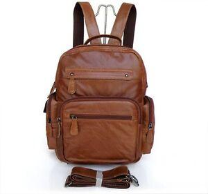 Vintage Cowboy Genuine Leather Men's Brown Laptop Backpack Bookbag ...