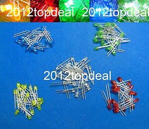 10-100-1000pcs-3mm-diode-2pin-Round-white-red-blue-green-yellow-LED-lamp-light