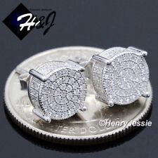 Men 925 Sterling Silver 8mm Lab Diamond Iced Round Screw Back Stud Earring*e142