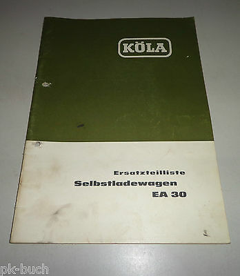 Motivated Parts Catalog/spare Parts List Köla Selbstladewagen Ea 30 Stand 05/1964 Fast Color Agriculture/farming