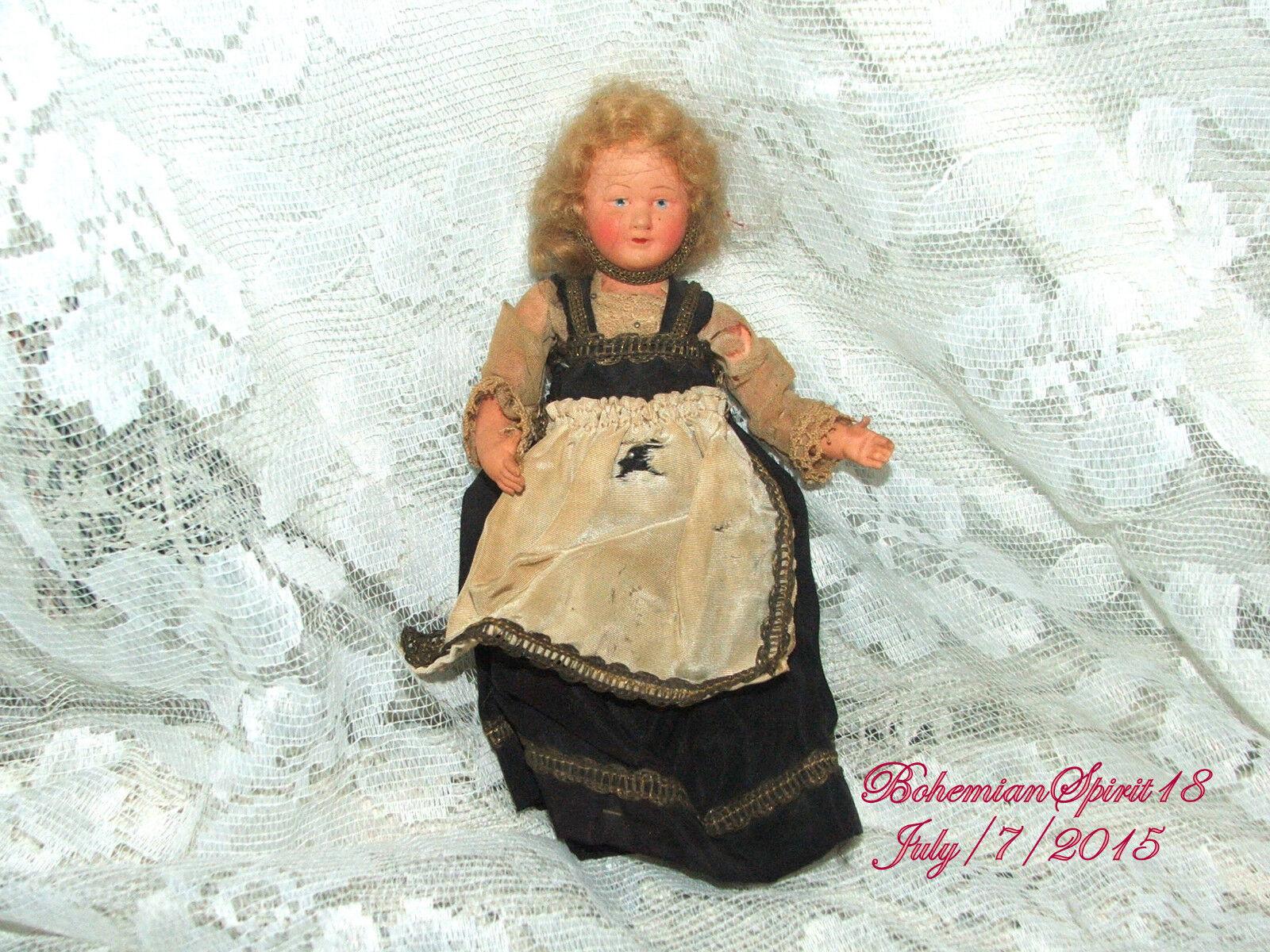 Antiguo Vintage Firmado Francia 175 vestido original de pelo mohair Celuloide Muñeca