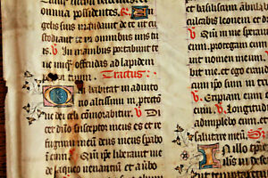 Leaf-of-an-early-15th-C-English-Missal-illuminated-Latin-manuscript-Gold-caps