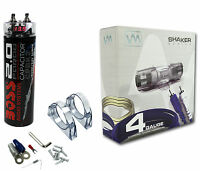 Boss Cpbk2 2 Farad Car Digital Voltage Capacitor Power Audio Cap + 4 Ga Amp Kit on sale