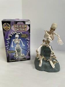 "1998 GEMMY Halloween  ""DANCING SKELETON on Tomb""  Animated Figure w/box"