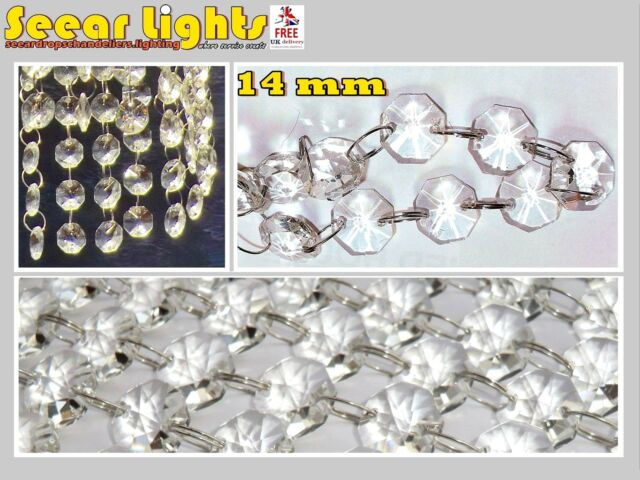 3.2ft / 1m CHANDELIER LIGHT CRYSTALS DROPLETS 50 GLASS BEADS WEDDING DROPS 14MM