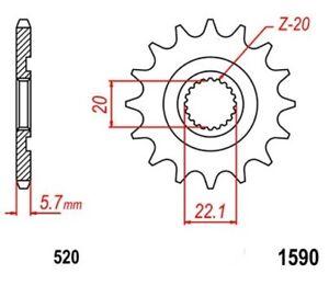 KR-Ritzel-13Z-Teilung-520-YAMAHA-YZ-250-F-4T-01-12-New-front-sprocket