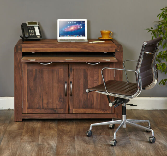Malvern Solid Walnut Furniture Hidden Home Office Computer Pc Hideaway Desk For Online Ebay