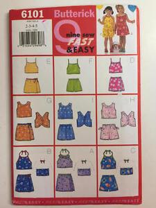 Vintage-Butterick-Pattern-6101-Girls-Top-Skirt-amp-Shorts-Size-2-3-4-5-New-Uncut