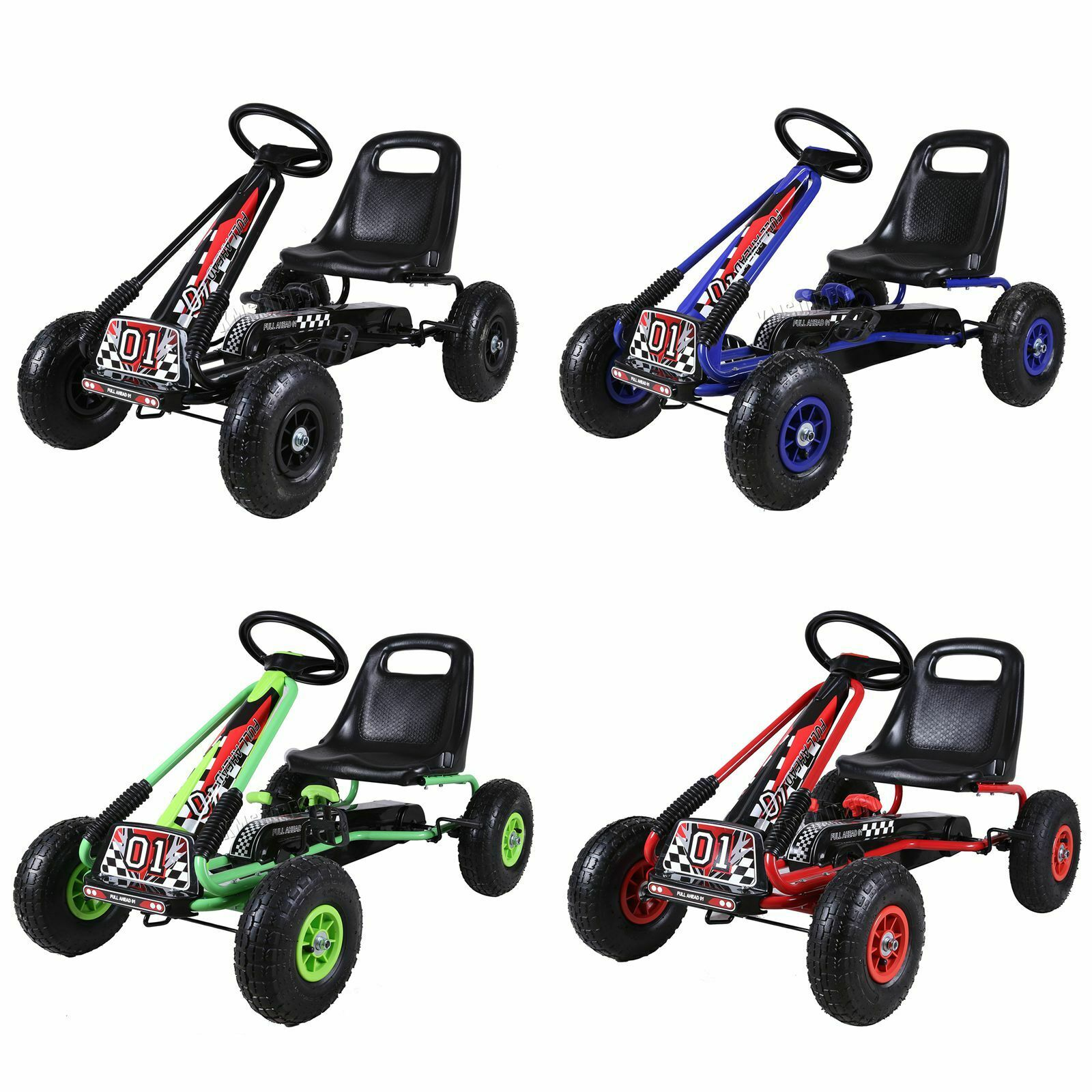 FoxHunter barn Go Kart Ride on Car Pedal With Rubber Wheels Justerbara Säte G02