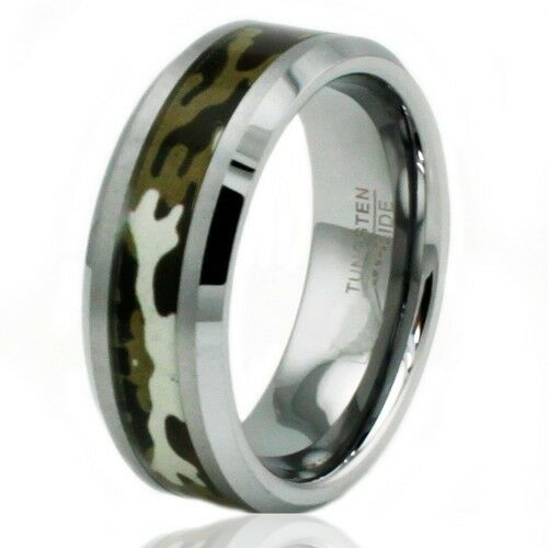 Tungsten Carbide Army Forest Hungting Camo Camouflage Wedding Band Ring 8MM