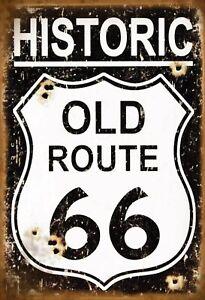Historique-Old-Itineraire-66-Panneau-Metallique-Plaque-Voute-en-Etain-20-X-30-CM