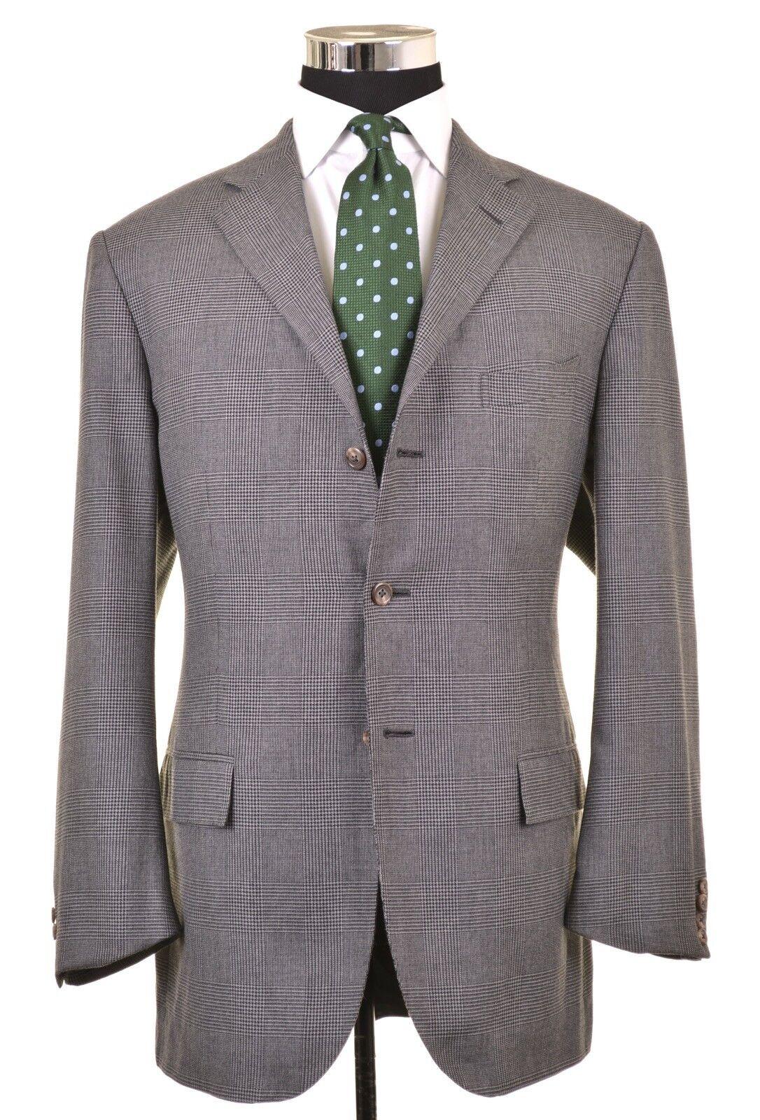 Polo Ralph Lauren ITALY Corneliani grau COTTON CASHMERE Plaid Sport Coat 44 L