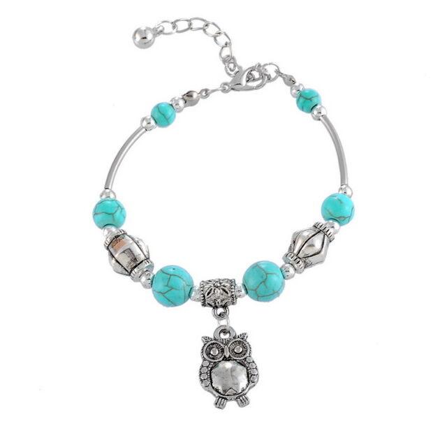 1 Damen Armkette Armband Grün Türkis Perlen Spacer Eule Anhänger 18cm