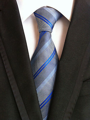 Fashion Classic Men/'s Gray Stripe Neck Ties Wedding Party Silk tie gift