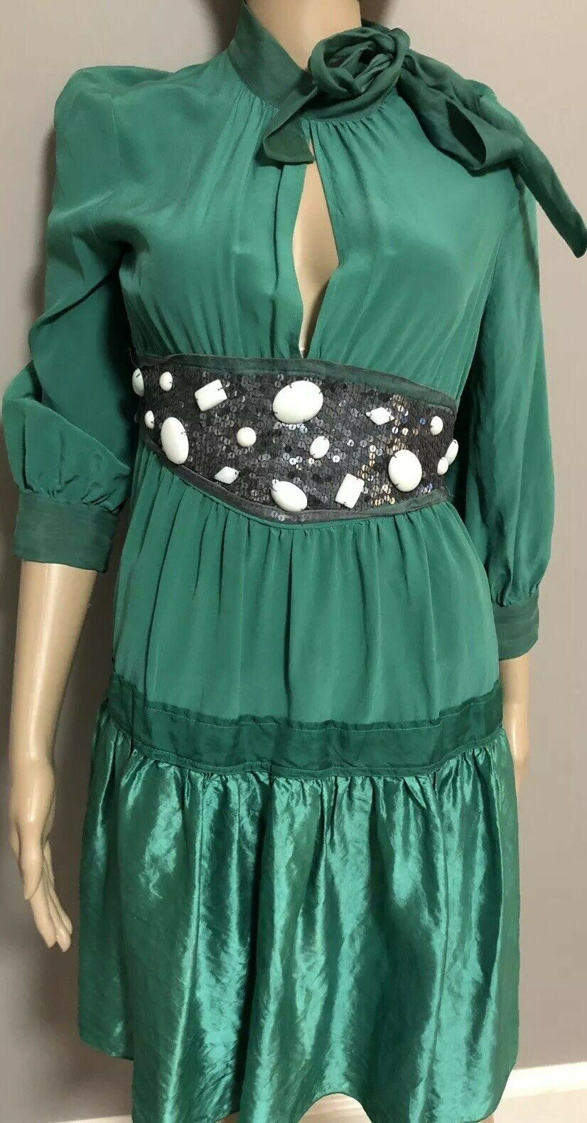 NWT Runway Sample  595 Green Embellished Silk  Dress Dress Dress by M Missoni sz 4 6 f21333