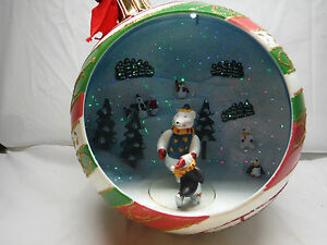 image is loading enesco style lighted christmas ball ornament moving skating - Lighted Animals Christmas Decoration