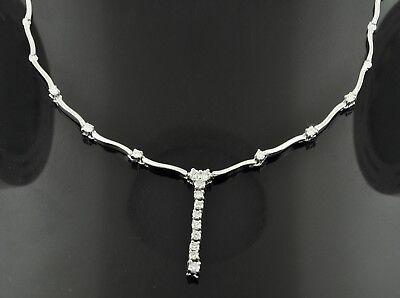 c8c8edf8c3612 1.15 ct 14k Solid White Gold Lariat Natural Diamond Necklace Stylish 18.40  gram | eBay