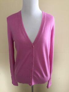 Ann-Talyor-Loft-V-neck-Button-Down-Cardigan-Sweater-Lilac-Size-S