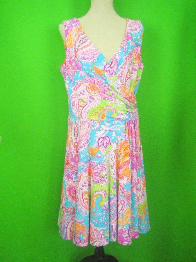 LAUREN Ralph Lauren Floral Print NWT Summer Wrap Dress 1X