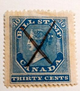 CANADA-BILL-STAMP-FB12-30c-blue-1864-Perf-12-x13-Used-Queen-Victoria