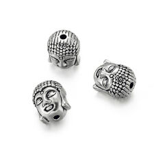 1 Bag Tibetan Silver Guru Bead T Drilled 3 Hole Round Buddha Head Antique 10mm