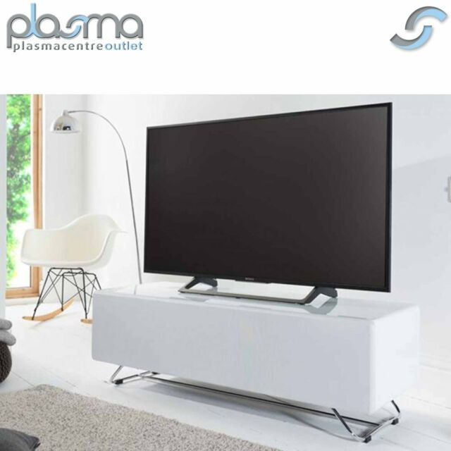 Alphason Cro2 1200cpt Chromium Concept White Tv Stand With Speaker Mesh Front