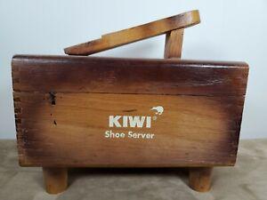 Kiwi Shoe Care Kit Server Wood Box Buffer Stand Polish & Shine