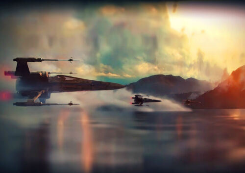 *STAR WARS EPISODE 7 SHIP X WING. POSTER A4 PLASTIFIE-LAMINATED 1 FREE//1 GRATUIT