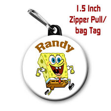 Two Sponge Bob Zipper Pull/Bag Tags Large 1.5 Inch Charm Personalized with Name