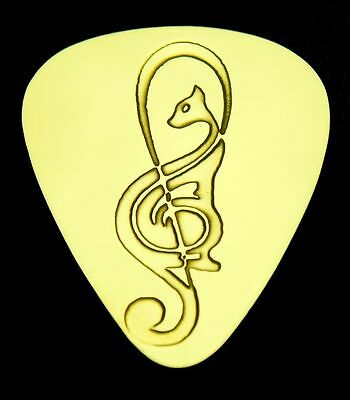 TREBLE CAT - Solid Brass Guitar Pick, Acoustic, Electric, Bass