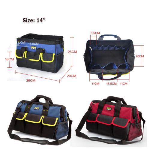 """14-20/"""" Waterproof Heavy Duty Electrician Service Tote Carry Tool Bag Storage"""
