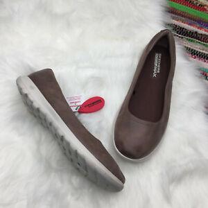 Skechers-Womens-Goga-Max-Go-Step-Lite-Slip-On-Ballet-Flats-US-9-5-Brown-15395
