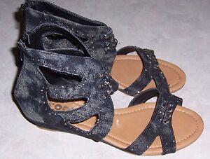 7ab3f504f7671 Image is loading GROOVE-Avril-Black-Stonewash-Denim-Gladiator-Sandals-Wedge-