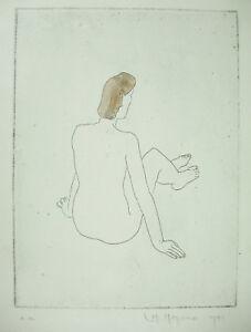 Copieux Louis Moyano (1907-?) 1941 Femme Nue De Dos Estampe Originale épreuve D'ariste